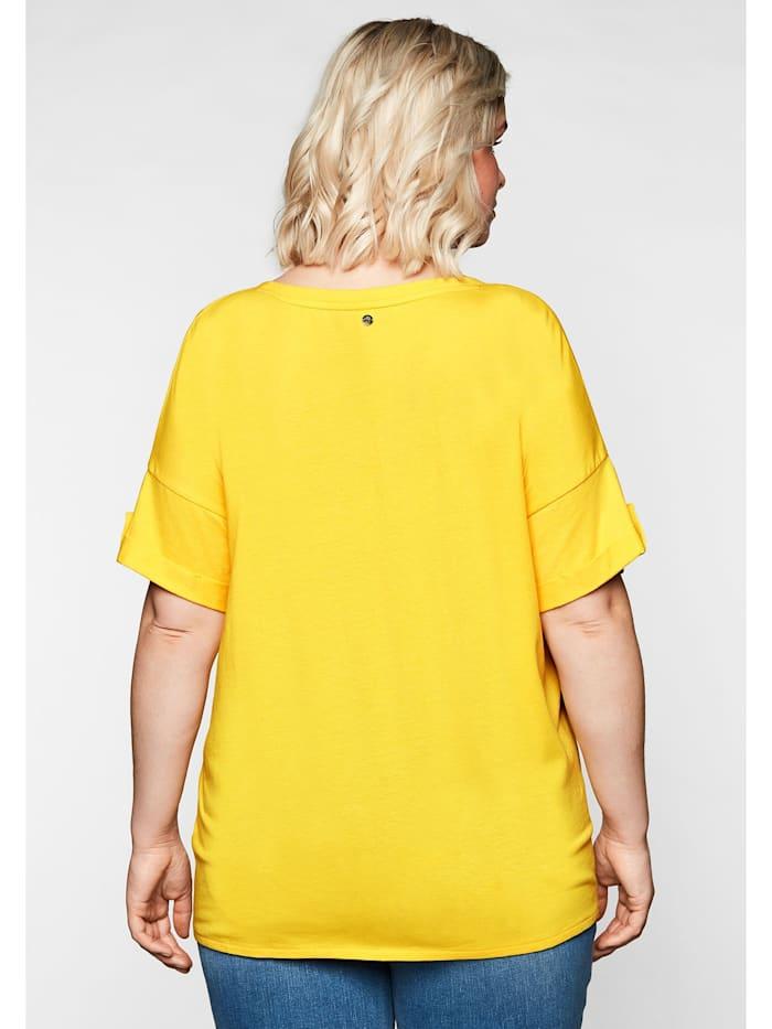 Sheego Shirt mit Ziernaht und Knotendetail am Saum