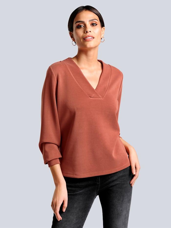 Alba Moda Sweatshirt mit samtigen Warengriff, Kupferfarben