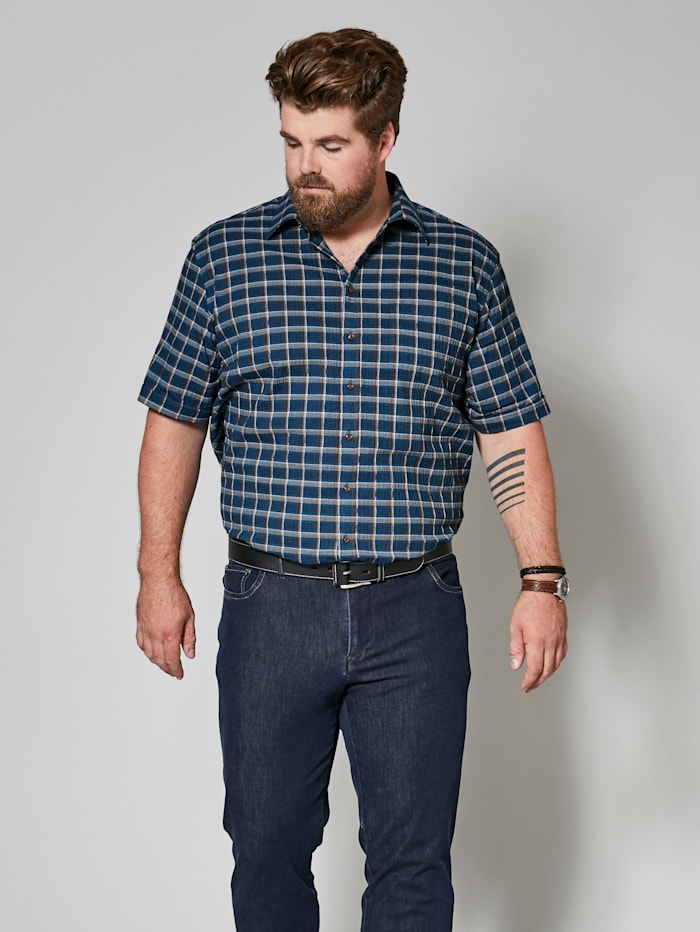 Men Plus Seersuckerhemd Spezialschnitt, Petrol/Braun
