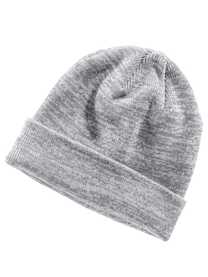 BABISTA Gebreide muts met brede omslag, wit/grijs