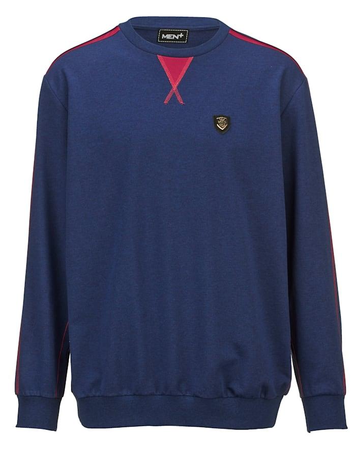 Men Plus Sweatshirt mit kontrastfarbigen Nähten, Marineblau/Rot