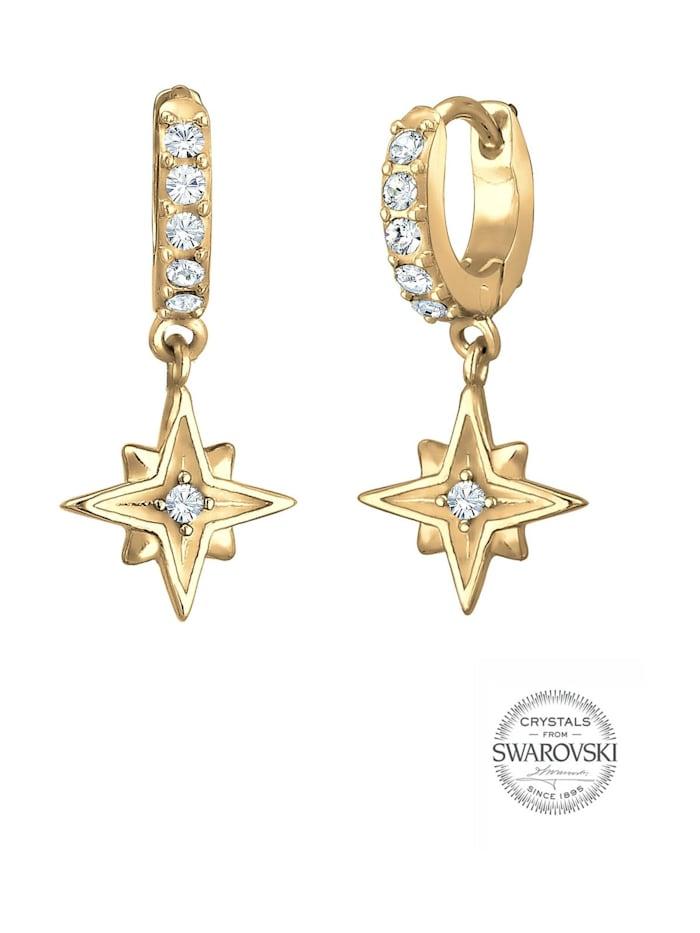 Ohrringe Creole Astro Star Swarovski® Kristalle 925 Silber