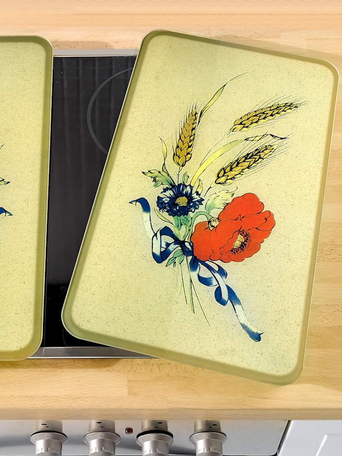 2er-Set Herdabdeckplatten Mohnblumen
