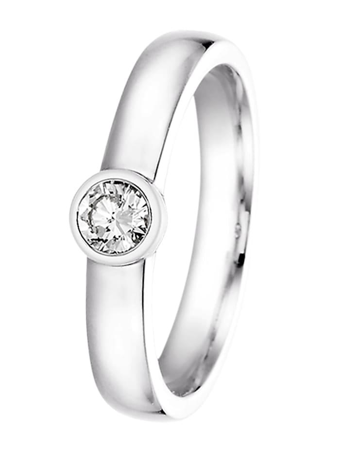 trendor Damenring 585 Weißgold mit Brillant für Antrag und Verlobung, silber