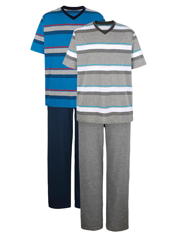 G Gregory Pyjama's met ingebreide strepen, Grijs/Blauw