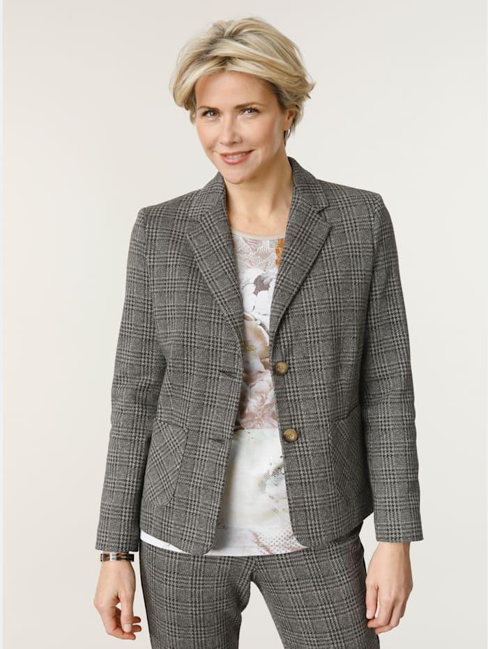 MONA Blazer en jersey à motif de carreaux, Marron foncé/Taupe