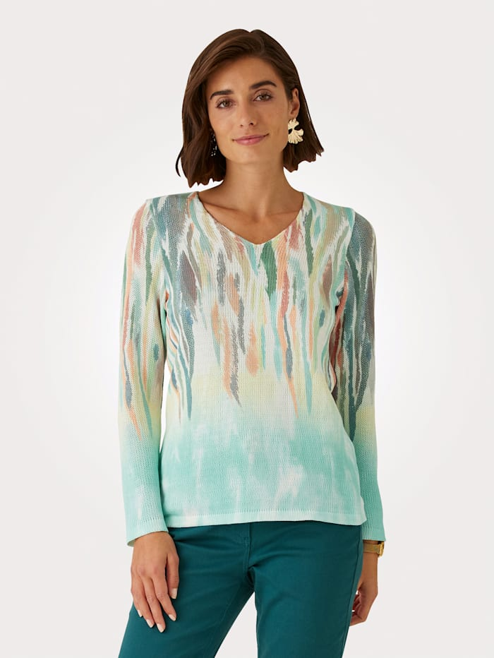 MONA Pullover mit platziertem grafischen Druck, Grün/Weiß/Orange