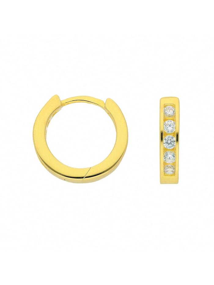 1001 Diamonds Damen Silberschmuck 925 Silber Ohrringe / Creolen mit Zirkonia Ø 14,1 mm, vergoldet