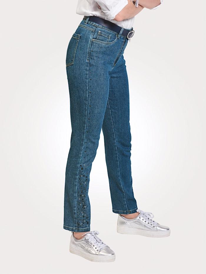 MONA Jeans met beleg van siersteentjes opzij, Donkerblauw