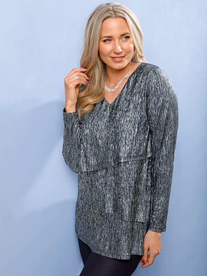 MIAMODA Shirt in glänzender Plissee Qualität, Marineblau/Silberfarben