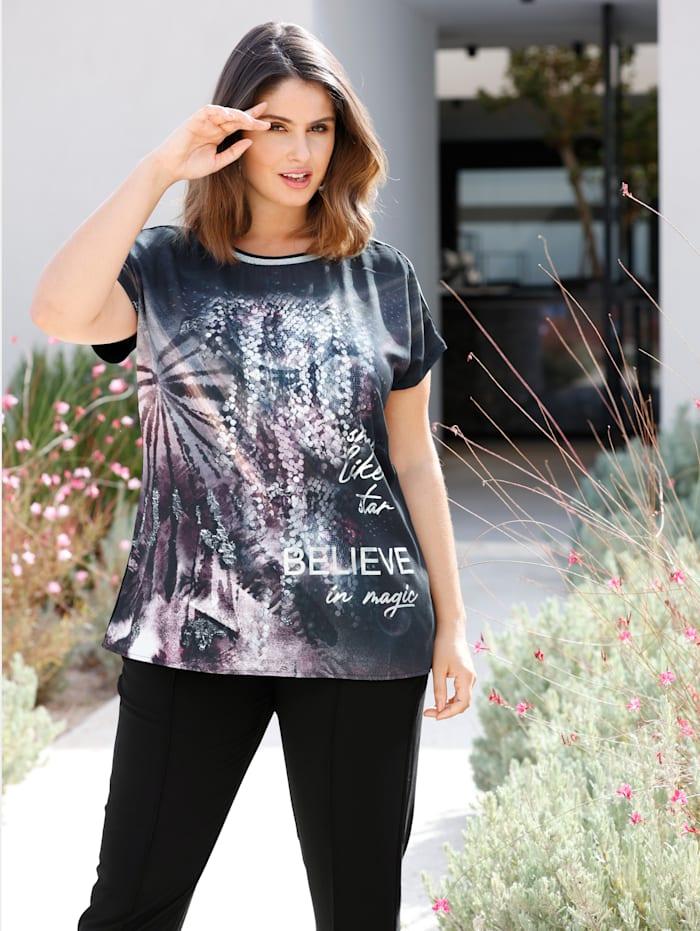 Sara Lindholm Shirt mit Glitzereffekt an Ausschnitt und Ärmeln, Schwarz
