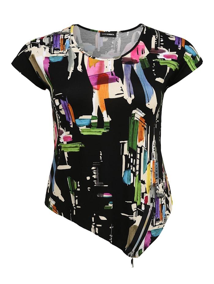 Doris Streich Shirt mit Allover-Muster Dekorative Reißverschlüsse, multicolor