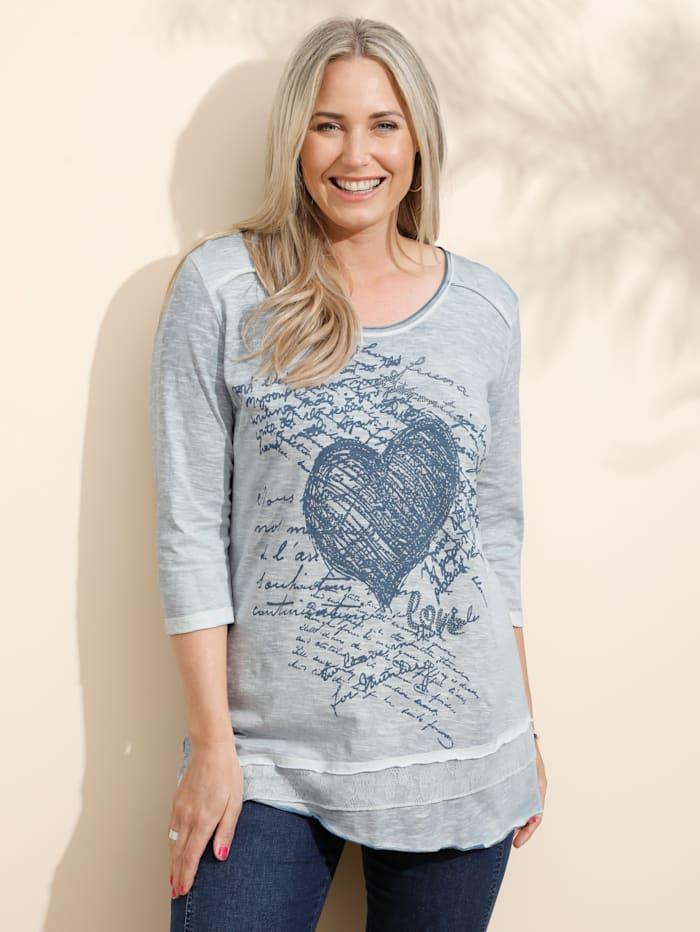 MIAMODA Shirt met siersteentjes, Rookblauw
