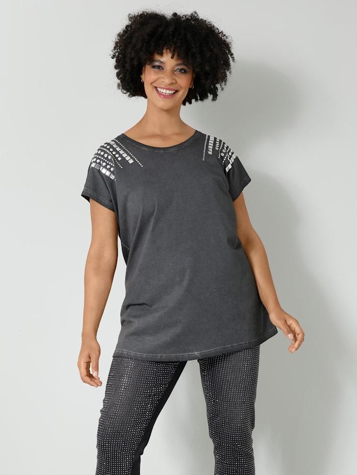 Angel of Style Shirt met klinknageltjes op de schouders, Antraciet