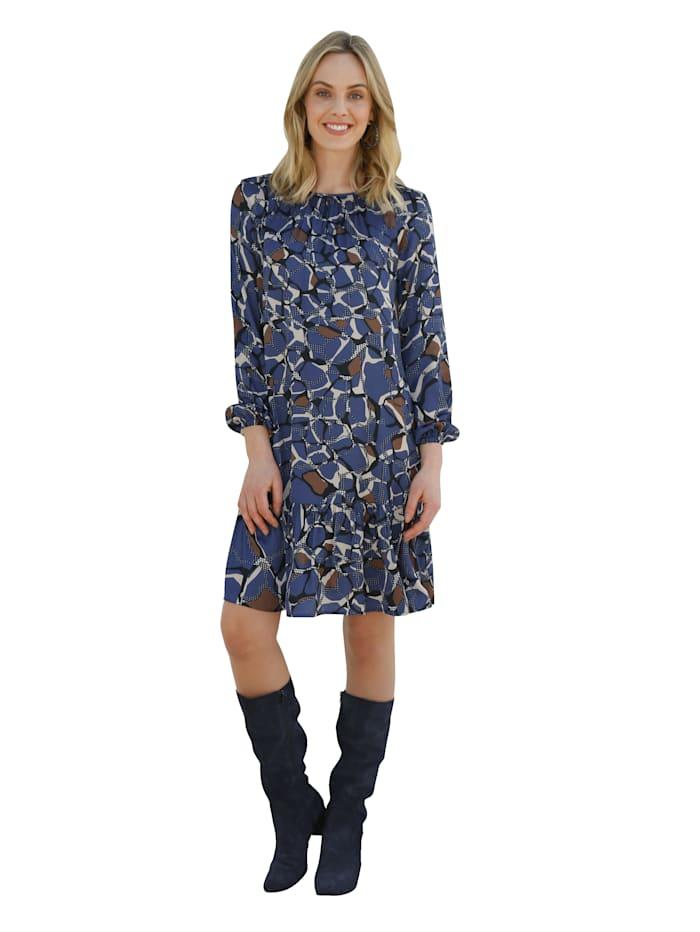 AMY VERMONT Kleid mit grafischem Muster, Blau/Cognac/Creme-Weiß