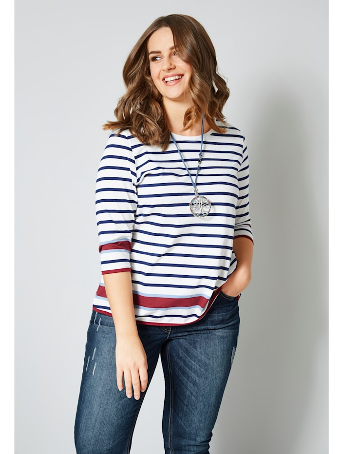 Janet & Joyce Shirt in Streifenoptik, Weiß/Marineblau/Bordeaux