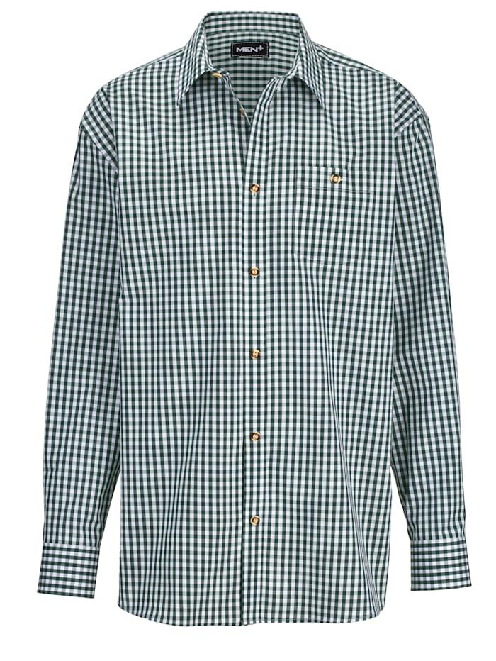 Men Plus Káro košeľa v krojovom vzhľade, Zelená/Biela