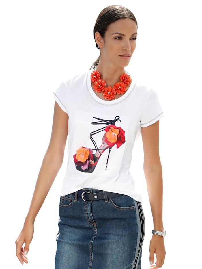 AMY VERMONT Shirt met gedessineerde inzet van weefstof voor, Wit