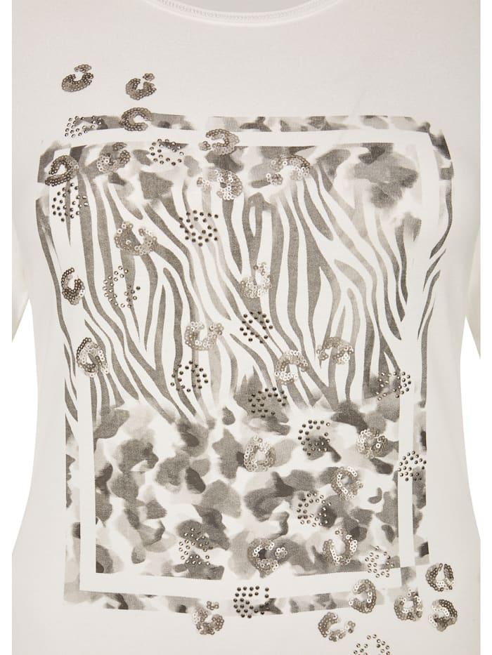 Shirt mit Front-Print und Dekosteinen