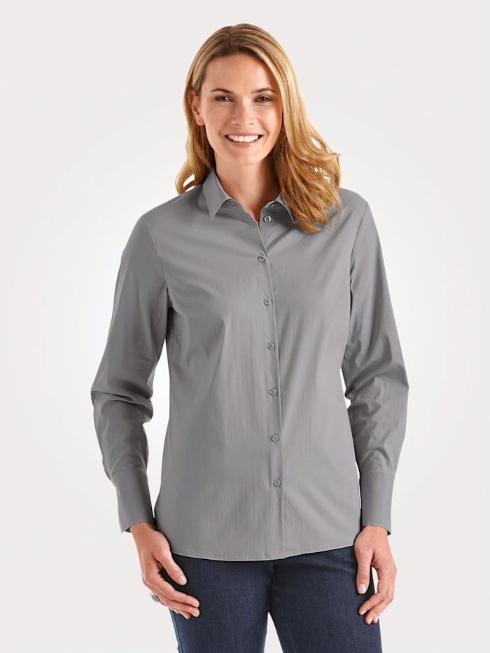 MONA Blouse with cotton, Silver Grey