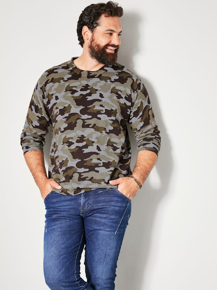 Men Plus Pullover mit Allover-Print im Camouflage-Look, Grau/Oliv