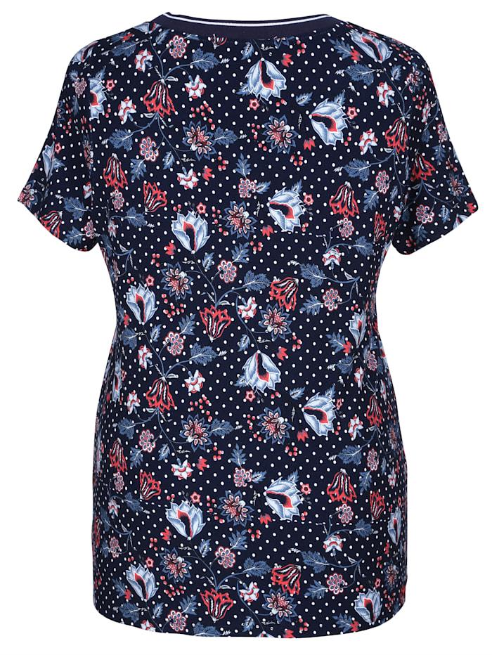 Tričko s bodkami a kvetinovou potlačou