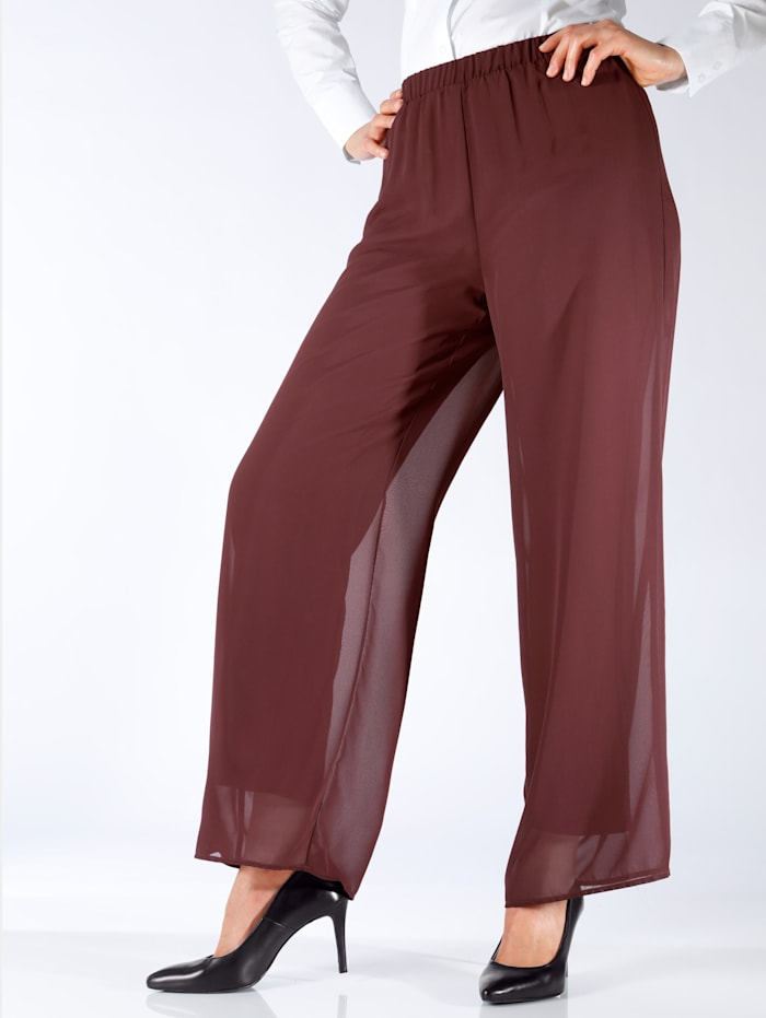m. collection Chiffonhose in lässiger Form, Bordeaux