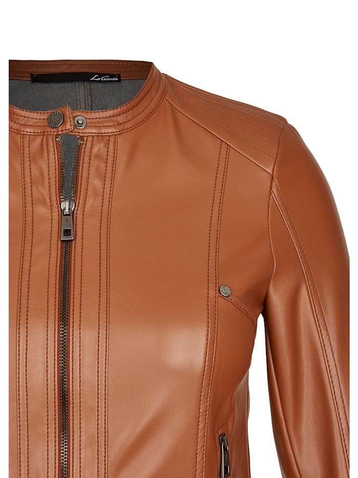 Jacke in Lederoptik mit Uni-Design