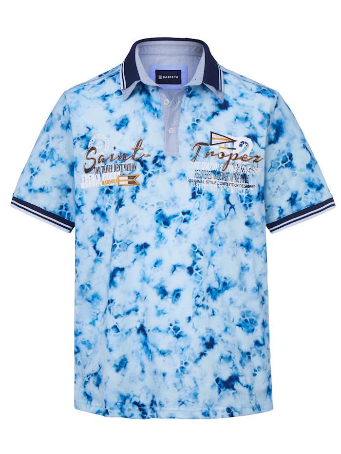 BABISTA Polo à imprimé de style batik, Bleu