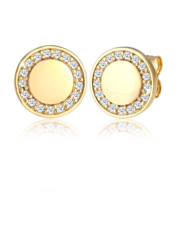 Elli Premium Ohrringe Elegant Klassisch Diamant (0.17 Ct) 375 Gelbgold, Gold