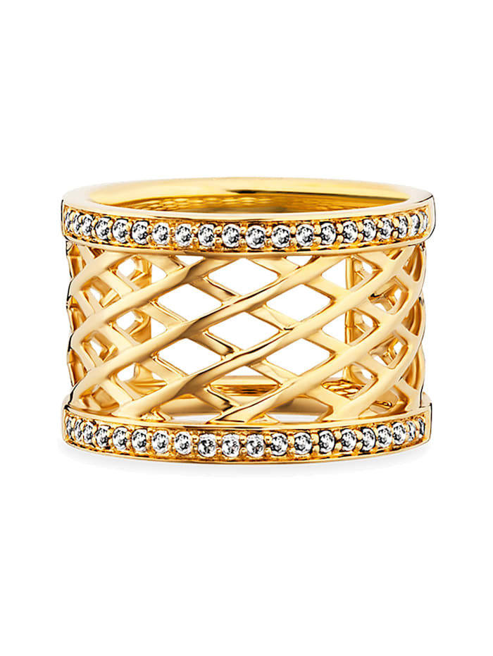 CAI Ring 925/- Sterling Silber Topas weiß vergoldet 0,400ct 925/- Sterling Silber, gelb