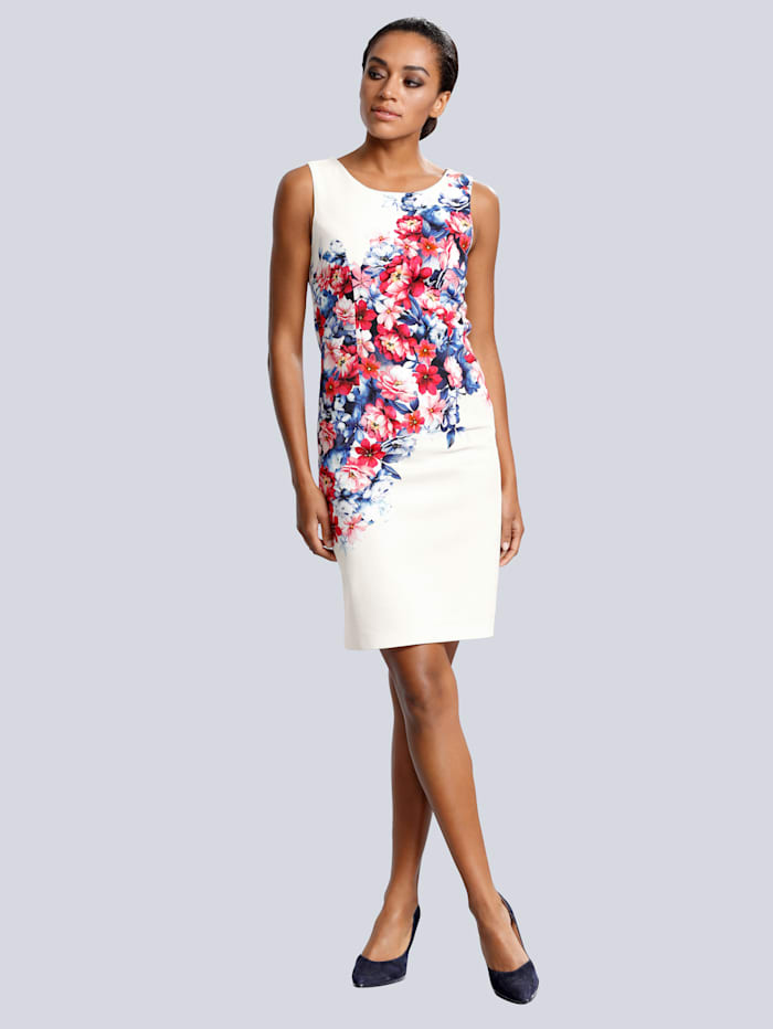 Alba Moda Kleid mit floralem Druck, Weiß/Rot/Blau