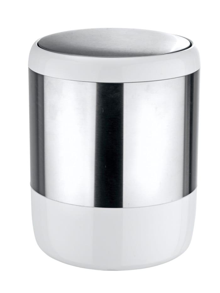 Wenko Kosmetikeimer Loft, 6 Liter, mit Schwingdeckel, Satiniert, Weiß