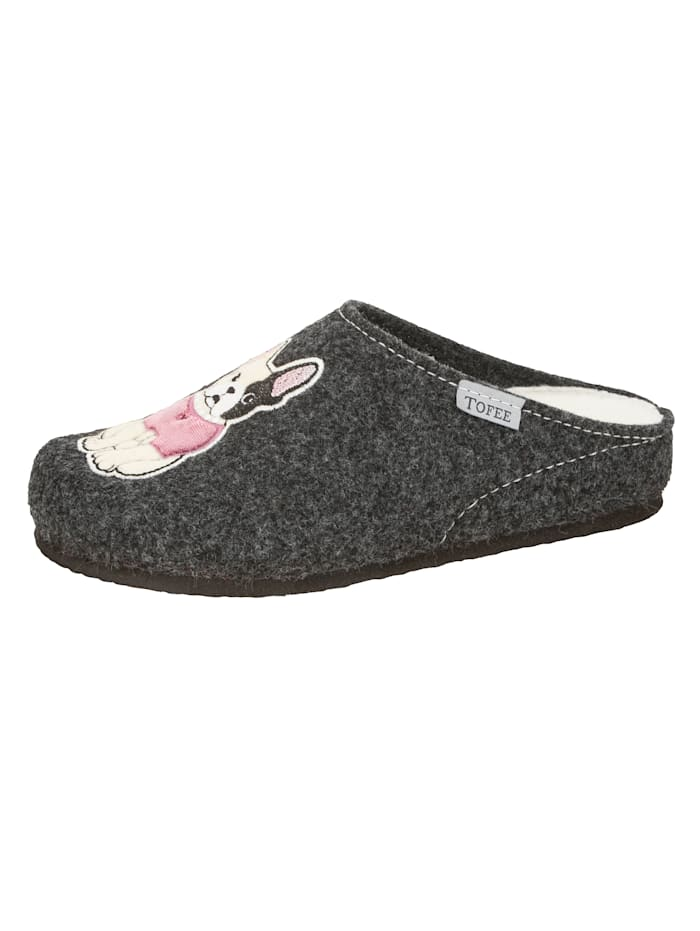 Tofee Mules avec broderie bulldog, Anthracite