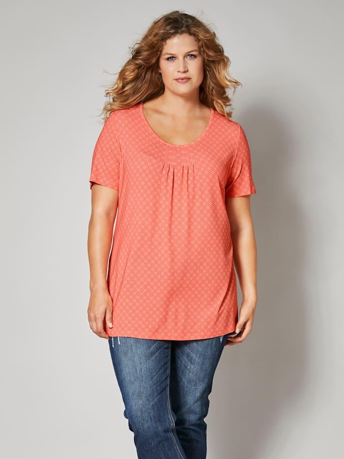 Janet & Joyce Shirt mit grafischem Muster, Koralle/Weiß