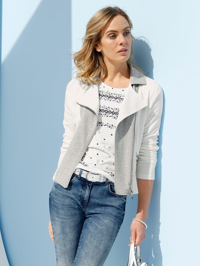 AMY VERMONT Jerseyjacke mit breitem Reverskragen, Off-white/Grau