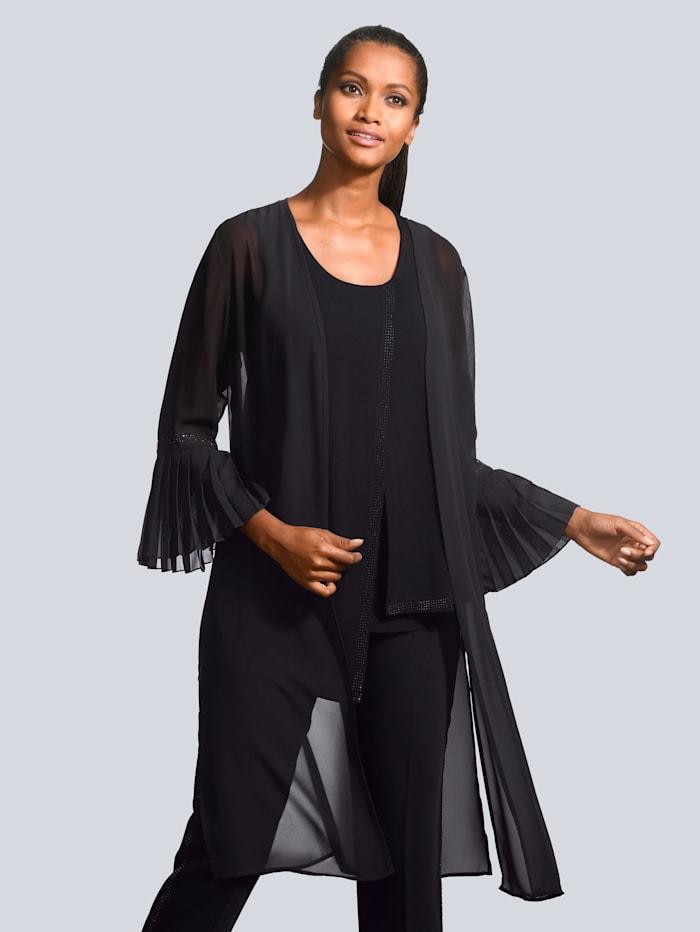 Alba Moda Longbluse mit plissiertem Ärmelsaum, Schwarz