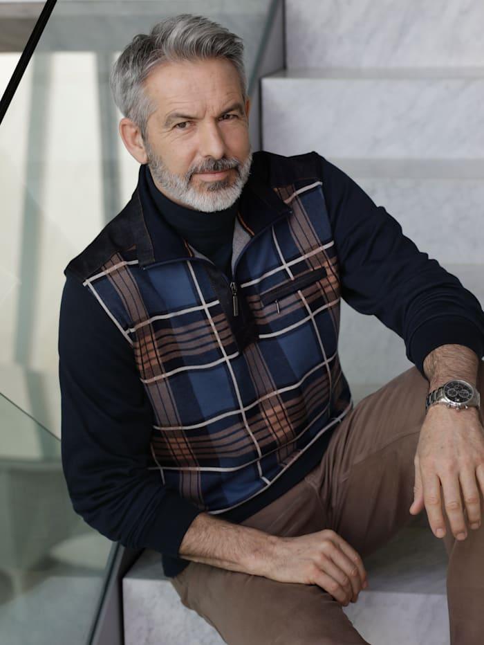 BABISTA Sweatshirt mit Denim-Besätzen, Marineblau