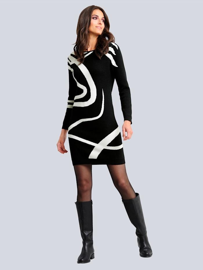 Alba Moda Strickkleid im exklusiven Dessin von Alba Moda, Schwarz/Off-white