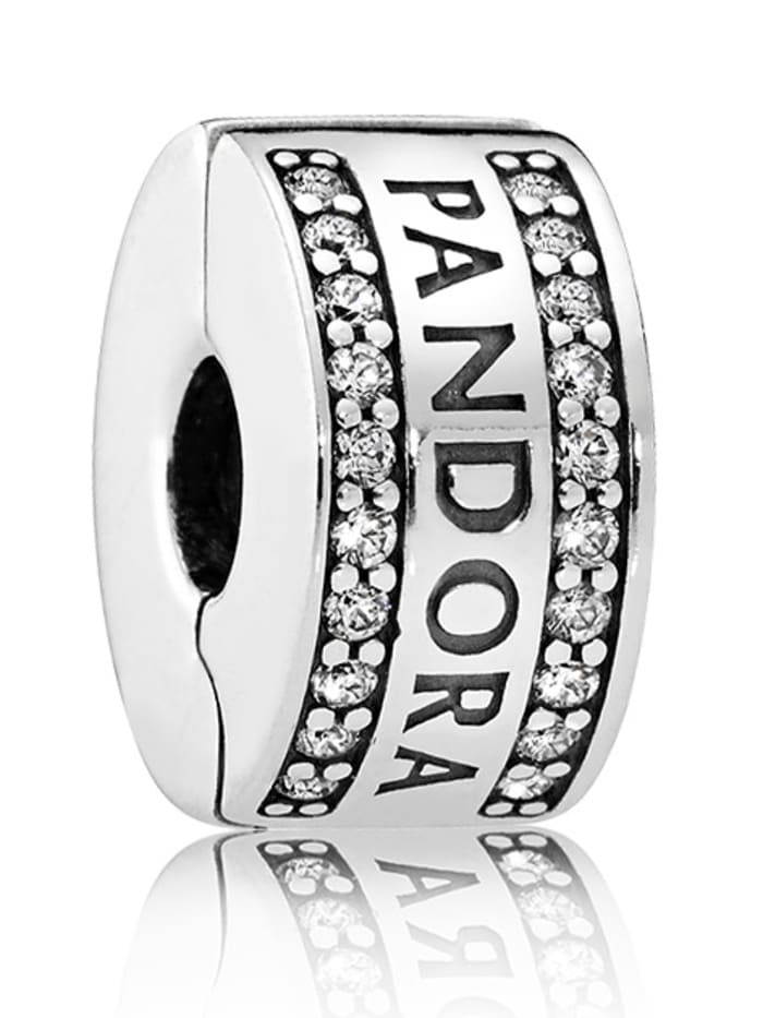 Pandora Clip-Charm -Pandora Logo- 792056CZ, Weiß