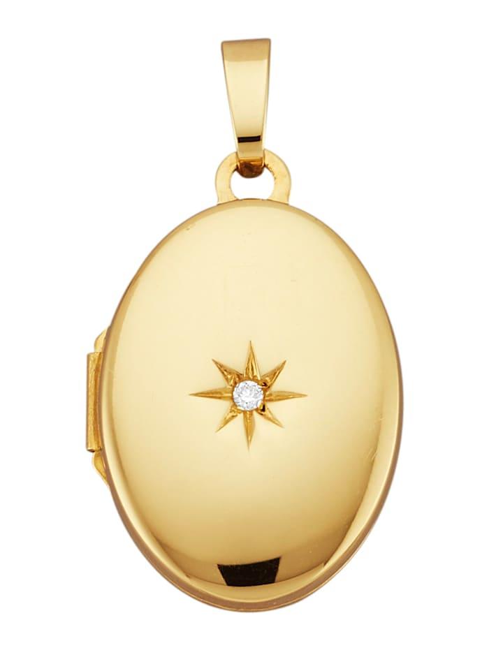 Diemer Gold Hanger Medaillon met diamant, Geelgoudkleur