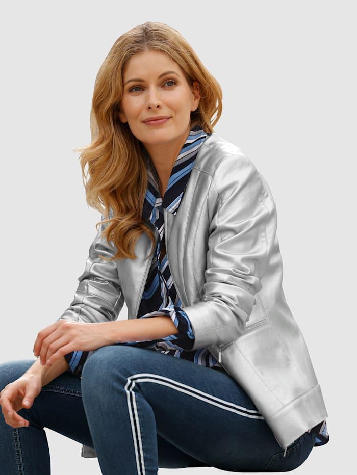 Laura Kent Imitatieleren jasje met subtiele glans, Zilvergrijs