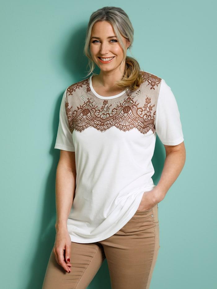 MIAMODA Shirt mit Spitzenbesatz, Weiß