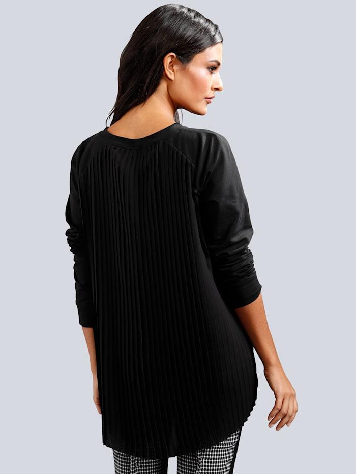 Sweatshirt mit trendigem Plisseeeinsatz im Rückenteil