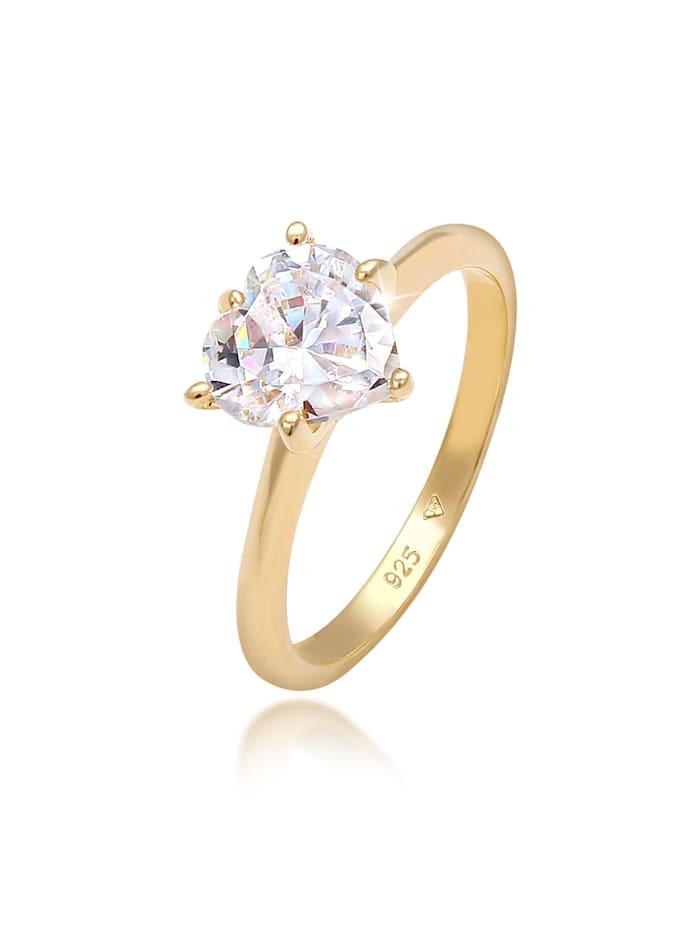 Elli Ring Herz Zirkonia Verlobungsring Solitär 925 Silber, Gold
