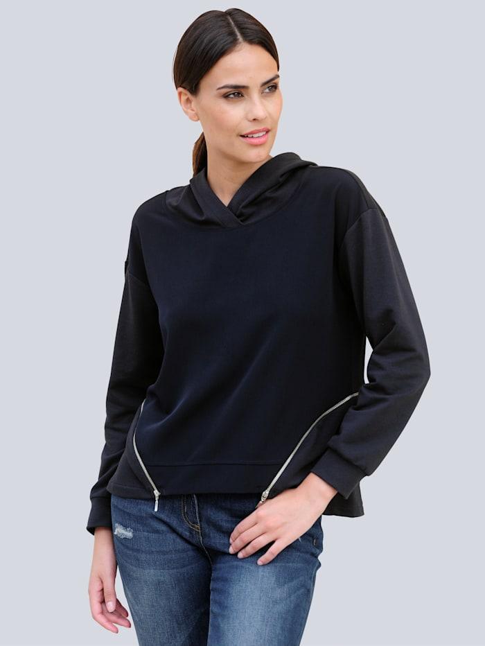 Alba Moda Sweatshirt mit Zipper-Details, Marineblau