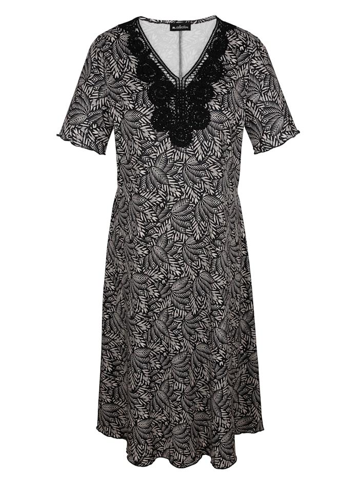 m. collection Jerseykleid mit floralem Druckdessin rundum, Beige/Schwarz