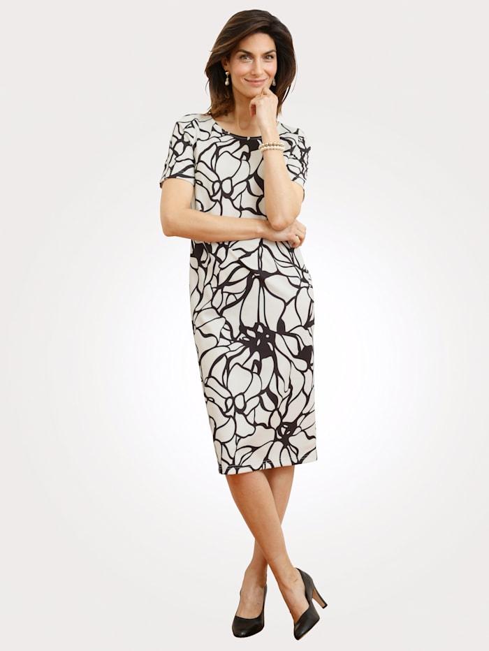MONA Kleid mit floralem Muster, Ecru/Schwarz