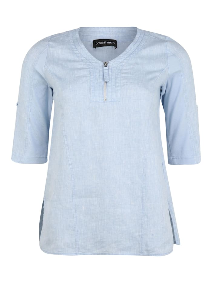 Doris Streich Bluse mit Reißverschluss-Ausschnitt, hellblau