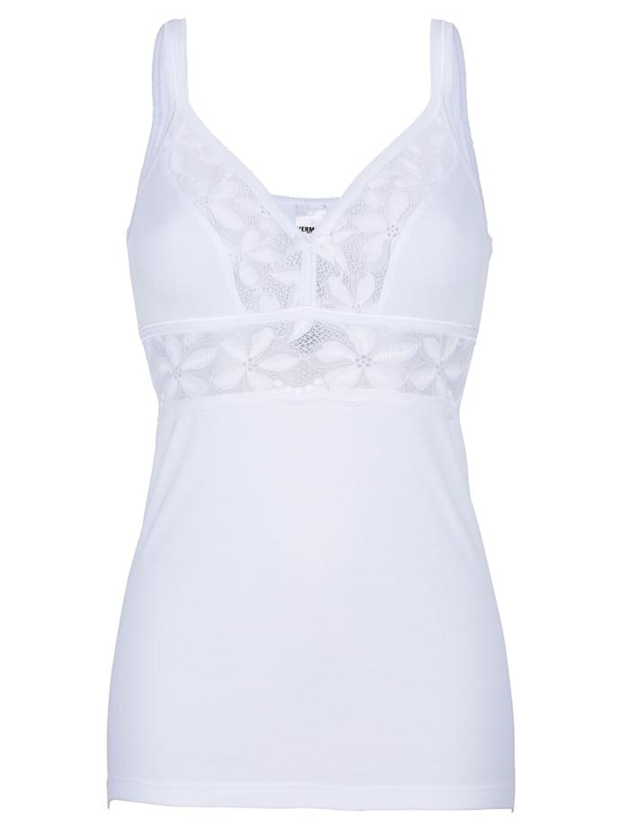 BH-Hemd mit transparenten Spitzeneinsätzen und elastischem Unterbrustband